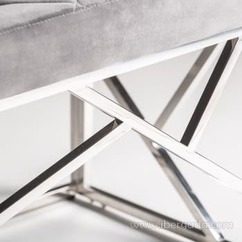 Banqueta Manhattan Inox/Gris Plata (97x46) - 2