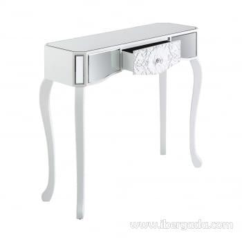Consola Reflejos Blanco/Espejo 1 Cajón - 1