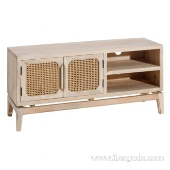 Mueble TV Mango/Rejilla 2 Puertas 2 Huecos (130x40x60)