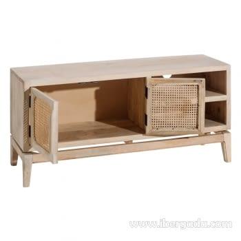 Mueble TV Mango/Rejilla 2 Puertas 2 Huecos (130x40x60) - 2