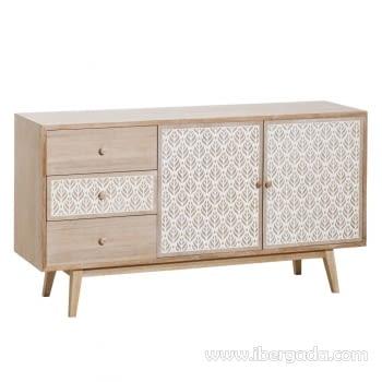 Mueble Aparador Jaida Natural/Blanco 2 Puertas 3 Cajones (150x40x80)