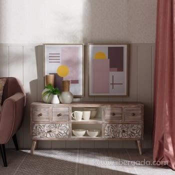 Mueble TV Mirt Blanco Rozado 6 Cajones (120x30x54) - 1