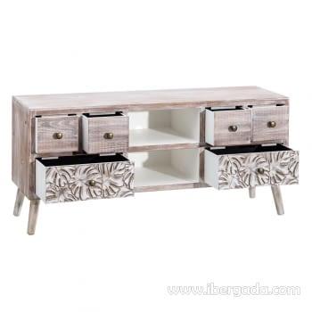 Mueble TV Mirt Blanco Rozado 6 Cajones (120x30x54) - 2