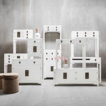Consola Oriental Blanco 6 Cajones 2 Puertas (95x26x91) - 5