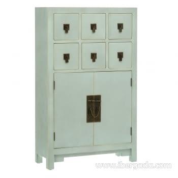 Mueble auxiliar Oriental Verde 2 Puertas 6 Cajones (63x26x104)