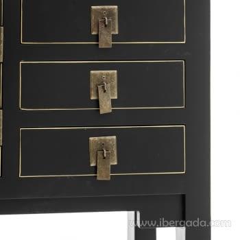 Consola Oriental Negro 3 Cajones 2 Puertas (63x26x80) - 2