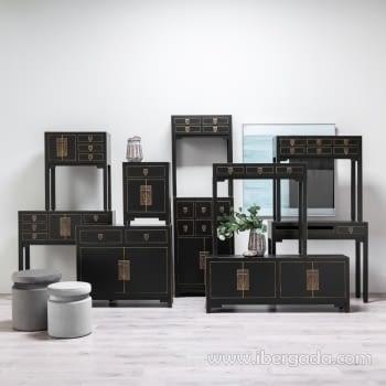 Consola Oriental Negro 3 Cajones 2 Puertas (63x26x80) - 5