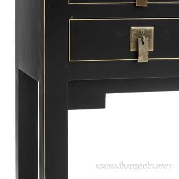 Consola Oriental Negro 6 Cajones 2 Puertas (95x26x91) - 3