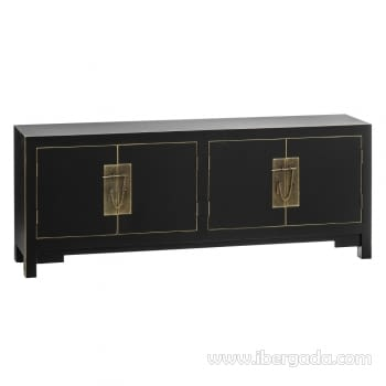 Mueble auxiliar Oriental Negro 4 Puertas (130x24x50)