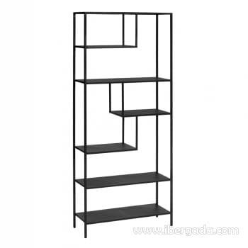 Estantería Negro Metal (80x26x180)