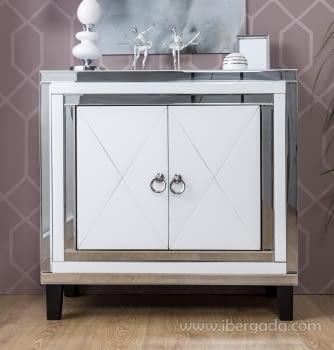 Taquillon Shine Cristal Blanco/Espejo 2 Puertas (80x40x80)