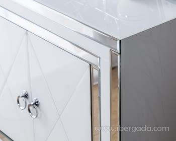 Taquillon Shine Cristal Blanco/Espejo 2 Puertas (80x40x80) - 1