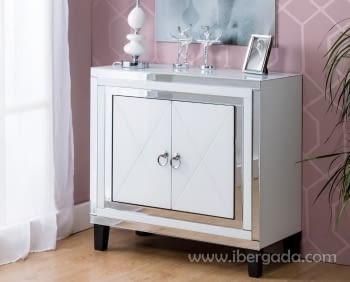 Taquillon Shine Cristal Blanco/Espejo 2 Puertas (80x40x80) - 2