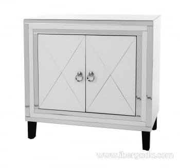 Taquillon Shine Cristal Blanco/Espejo 2 Puertas (80x40x80) - 3