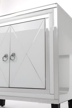 Taquillon Shine Cristal Blanco/Espejo 2 Puertas (80x40x80) - 4