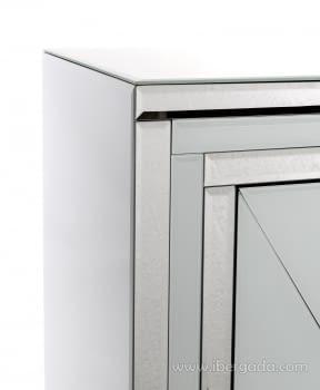 Taquillon Shine Cristal Blanco/Espejo 2 Puertas (80x40x80) - 7