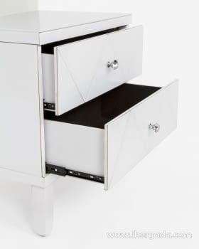 Mesita de noche Shine Cristal Blanco/Espejo 2 Cajones (57x40x60) - 2
