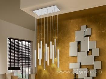 Lampara Varas 11L Oro/Blanco Dimable con Mando