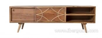 Mueble TV Jet Madera/Oro 2 Puertas 2 Huecos (147x42x46) - 5