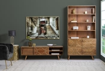 Mueble TV Jet Madera/Oro 2 Puertas 2 Huecos (147x42x46) - 6