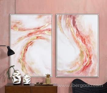 Cuadro Abstracto Rosa/Oro I (90x60) - 1