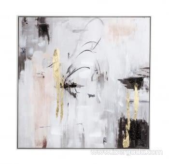 Cuadro Abstracto Blanco/Oro I (80x80)