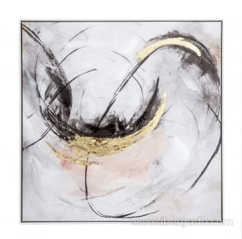 Cuadro Abstracto Blanco/Oro II (80x80)