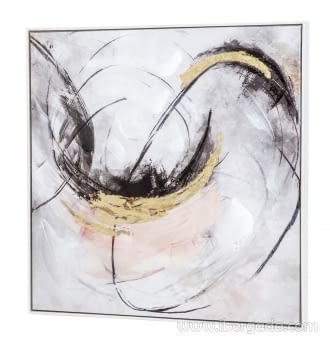 Cuadro Abstracto Blanco/Oro II (80x80) - 1