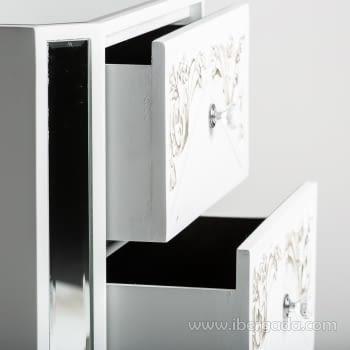 Mesita de noche Triangle Blanco/Espejo 2 Cajones - 4