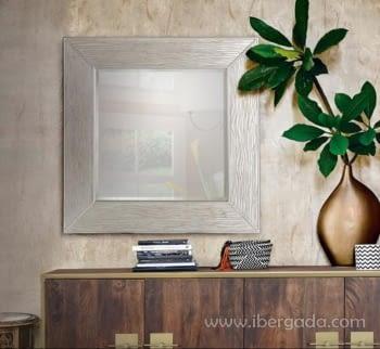 Espejo Cuadrado Plata Envejecida (100x100)