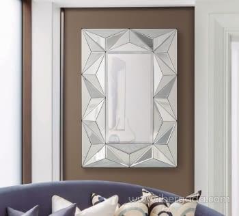 Espejo Glass Pirámides Rectangular (105x70)