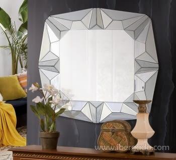 Espejo Glass Pirámides Cuadrado (80x80)