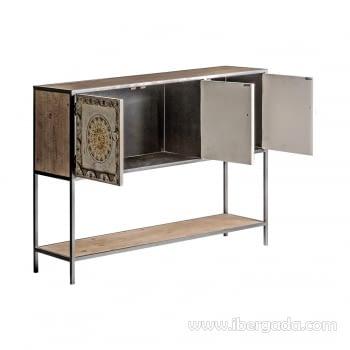 Consola Jaipur Hierro/Madera 3 Puertas (120x35x90) - 2