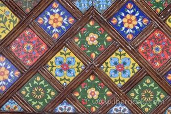 Baúl Madera Mango/Azulejos (116x40x45) - 4