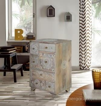Mueble Auxiliar Madera Mango Beige (42x30x66)