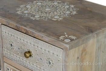 Mueble Auxiliar Madera Mango Beige (42x30x66) - 2