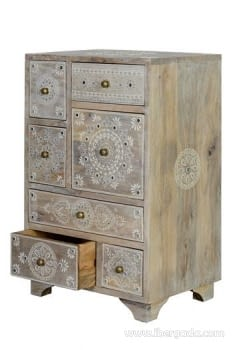 Mueble Auxiliar Madera Mango Beige (42x30x66) - 5