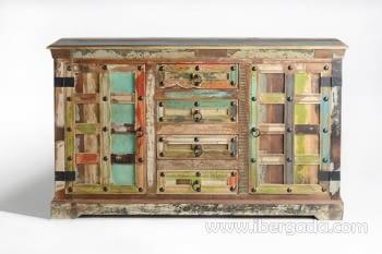 Aparador Madera reciclada Multicolor 2 Puertas 4 Cajones (150x40x90)