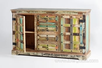 Aparador Madera reciclada Multicolor 2 Puertas 4 Cajones (150x40x90) - 1