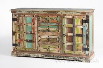 Aparador Madera reciclada Multicolor 2 Puertas 4 Cajones (150x40x90) - 2