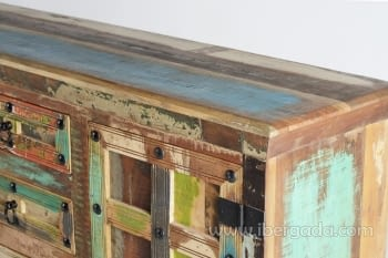 Aparador Madera reciclada Multicolor 2 Puertas 4 Cajones (150x40x90) - 3