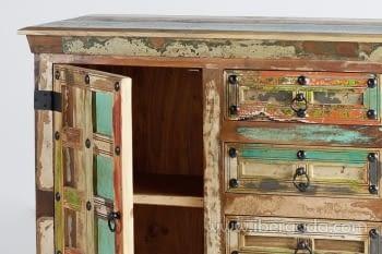 Aparador Madera reciclada Multicolor 2 Puertas 4 Cajones (150x40x90) - 4