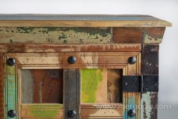 Aparador Madera reciclada Multicolor 2 Puertas 4 Cajones (150x40x90) - 5