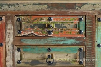Aparador Madera reciclada Multicolor 2 Puertas 4 Cajones (150x40x90) - 7