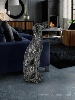 Figura Galgo Dogo Negro Plata (79x30)
