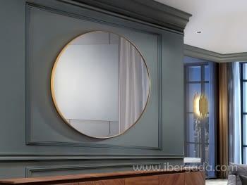 Espejo Orio Redondo Oro (120x120)