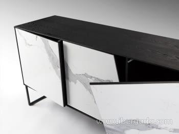 Aparador Kerala 3P Blanco/Negro (160x76x45) - 6