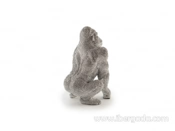Figura Gorila Pequeña Plata - 4