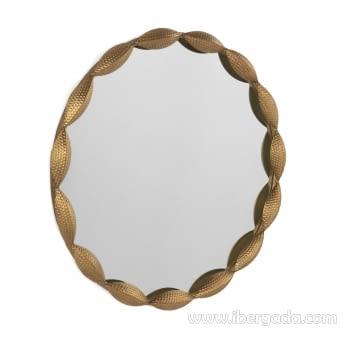 Espejo Metal Redondo Oro Envejecido (74x74)
