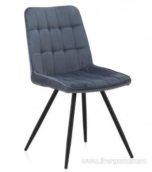 Silla Terciopelo Azul/Negro